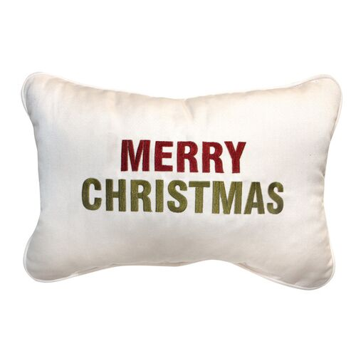 Merry Christmas Embroidered Pillow | Customizable