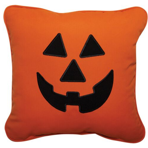 Halloween Jack-O-Lantern Applique Outdoor Pillow