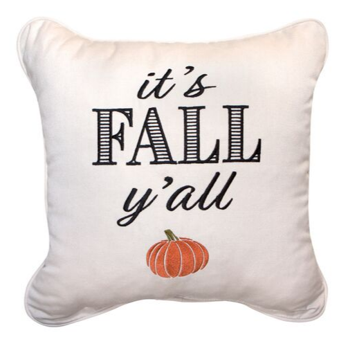 Fall Embroidered Outdoor Pillow   It's Fall Y'all: