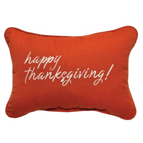 Happy Thanksgiving Embroidered Outdoor Pillow