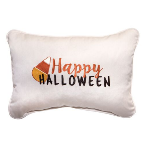 Happy Halloween Embroidered Outdoor Pillow
