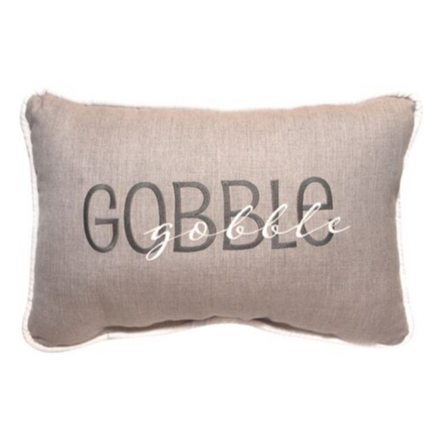 Fall Gobble-Gobble Embroidered Outdoor Pillow