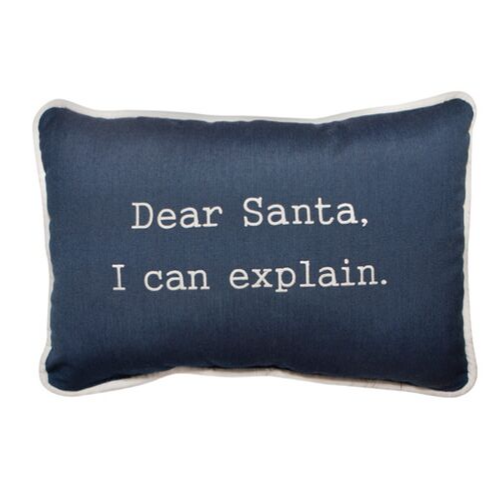 Dear Santa Embroidered Indoor/Outdoor Holiday Pillow