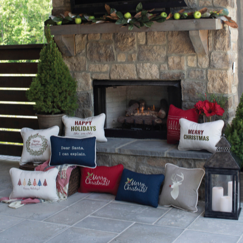 Merry Christmas Embroidered Indoor/Outdoor Pillow
