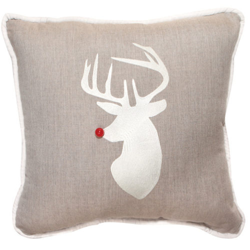 Rudolph Applique Indoor/Outdoor Holiday Pillow