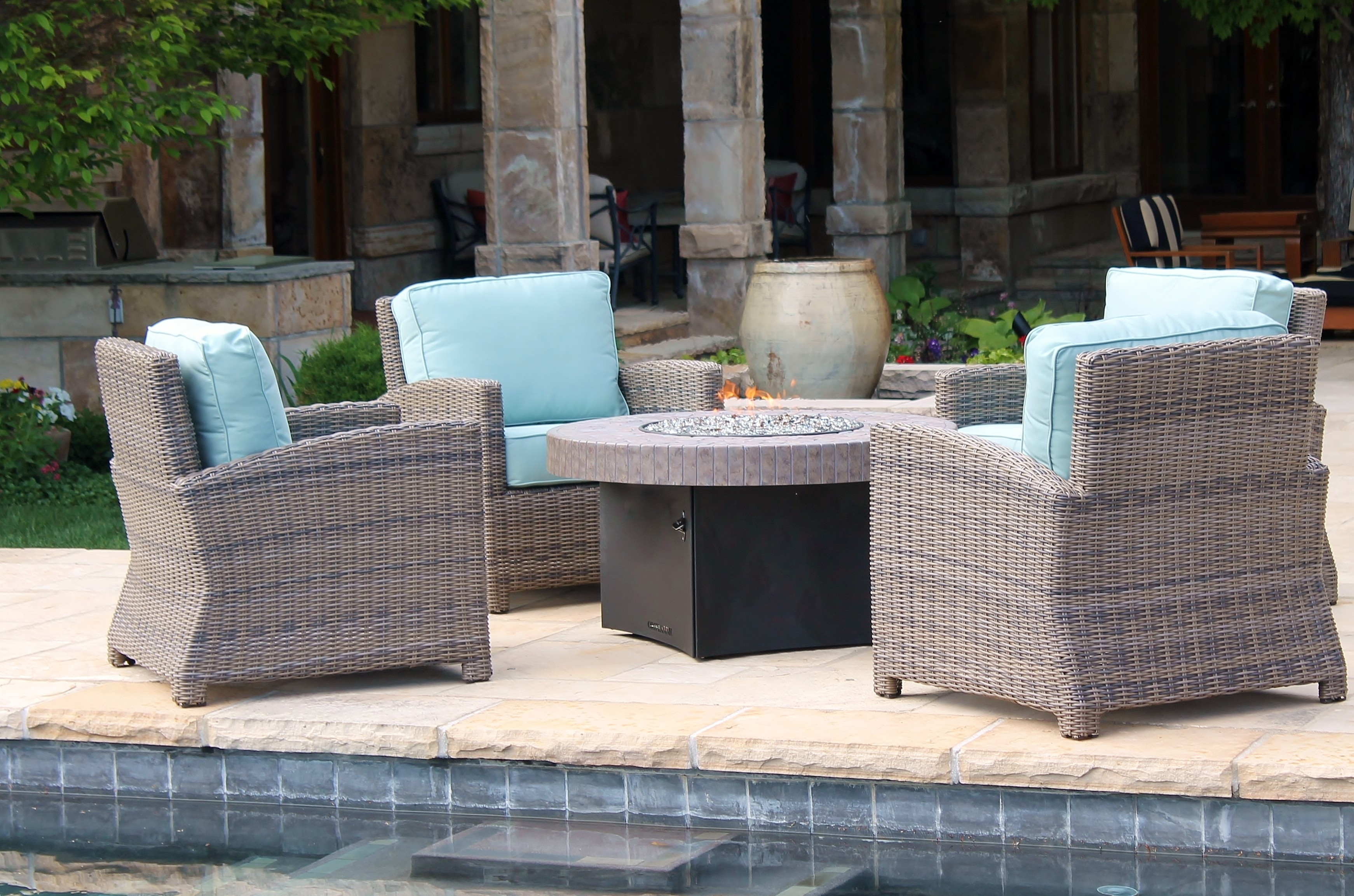 Northcape Patio Furniture Bainbridge Club Chairs and Fire Pit