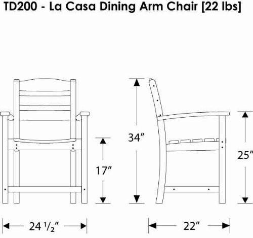 La Casa Cafe Dining Arm Chair Dimensions