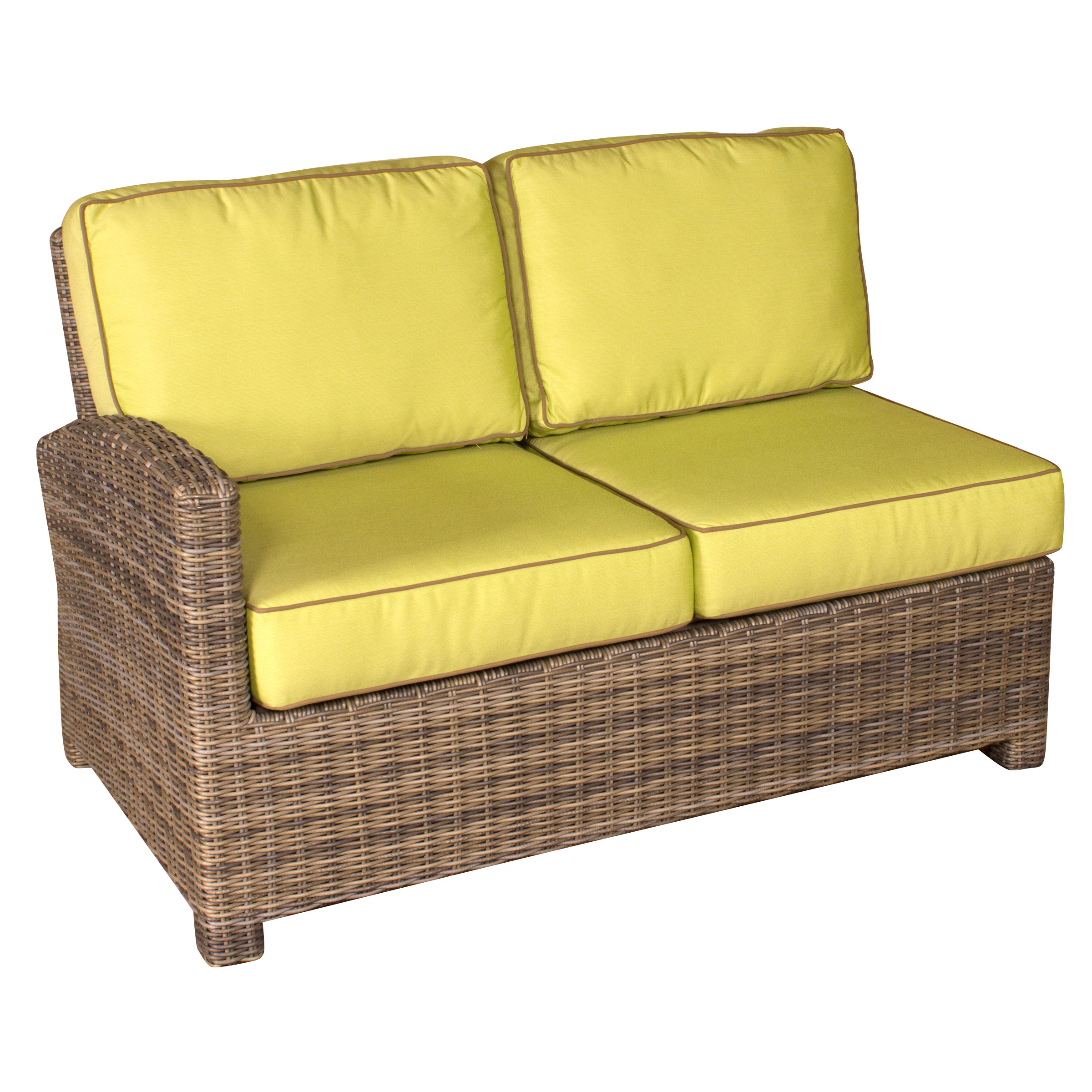 Bainbridge Wicker Left Arm Sectional End Loveseat - Canvas Buttercup Fabric
