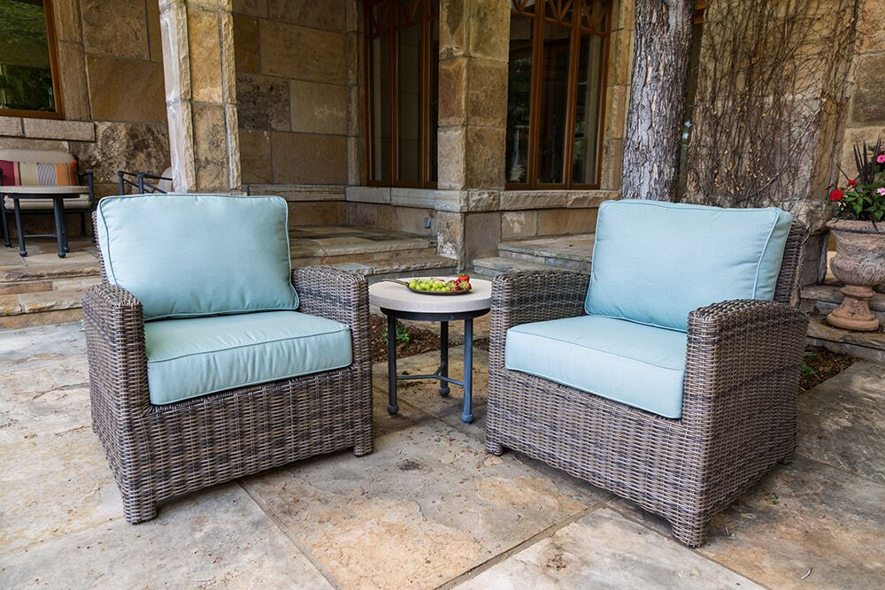 Bainbridge Wicker Club Chairs with Fire Table - Canvas Spa Cushions