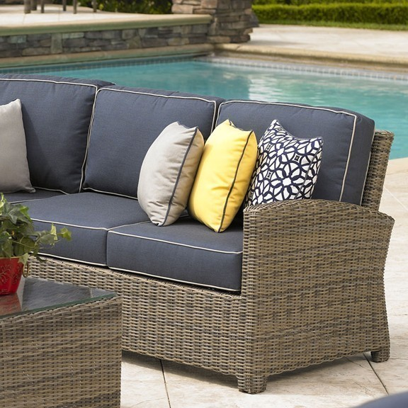 Bainbridge Wicker Right Arm Sectional Love Seat (Spectrum Indigo w/ Spectrum Dove Welt)