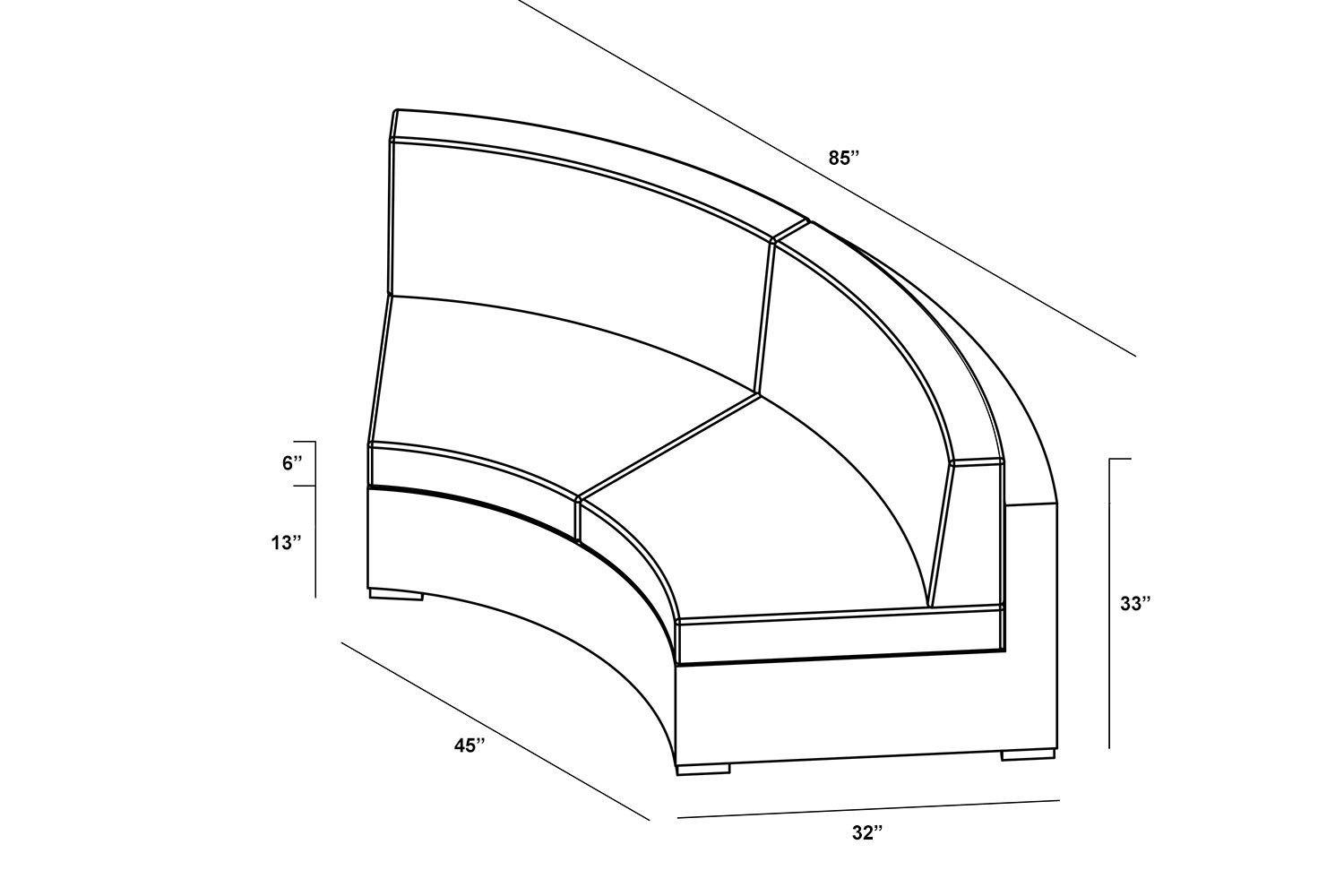 Cabo Curved Sofa Loveseat Dimensions