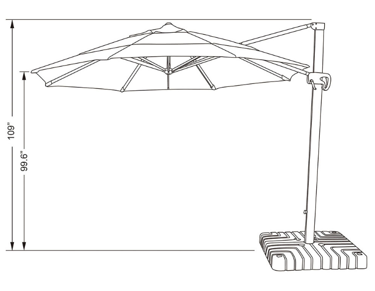 11' Cantilever Outdoor Umbrella with Double Wind Vents