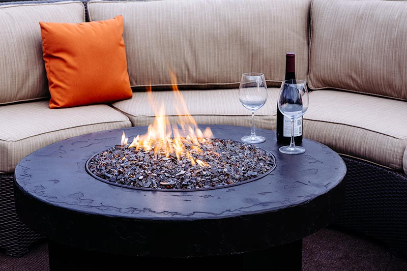 Stupendous Malibu Collection Curved Sectional Set With Gas Fire Pit Table Customarchery Wood Chair Design Ideas Customarcherynet