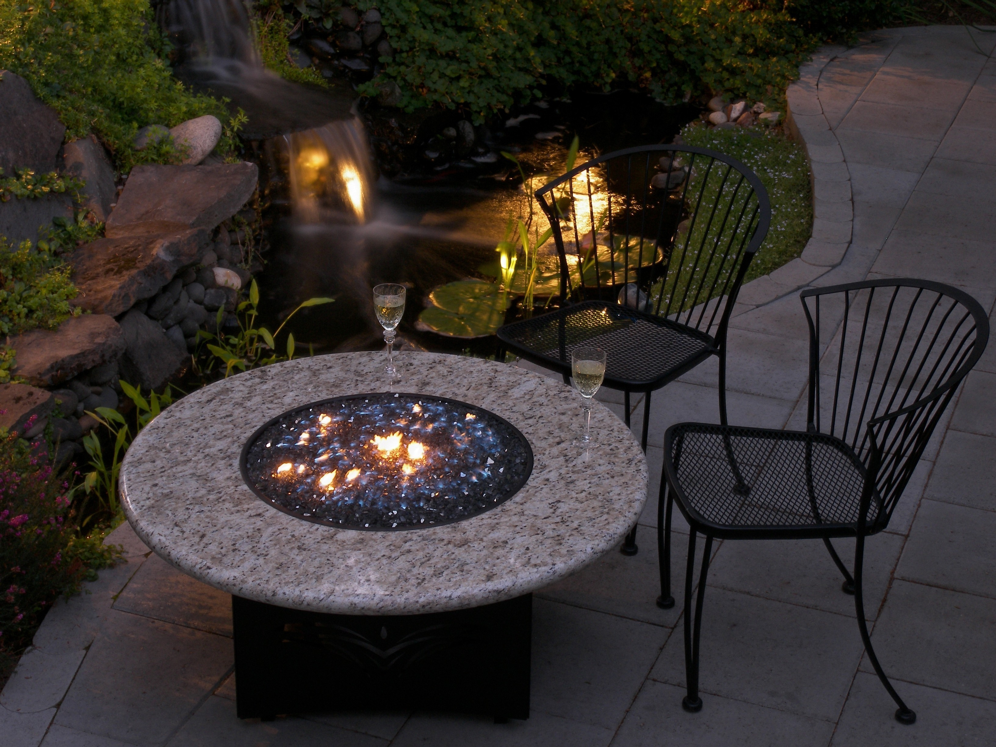 Oriflamme Fire Table at Dusk