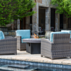 Bainbridge outdoor wicker chairs with gas fire table