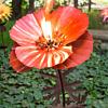 Outdoor Metal Poppy Flower Garden Torch