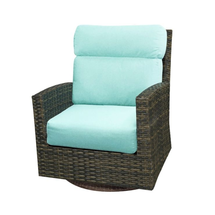 Lakeside Wicker High Back Swivel Rocker