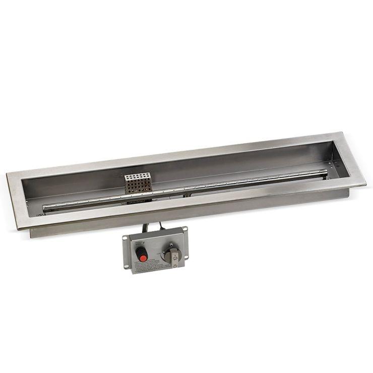 "30"" x 6"" Stainless Steel Linear Drop-in Fire Pit Pan Kit"