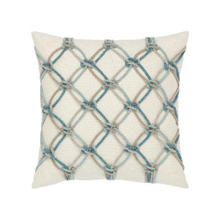 Elaine Smith Outdoor Aqua Rope Pillow