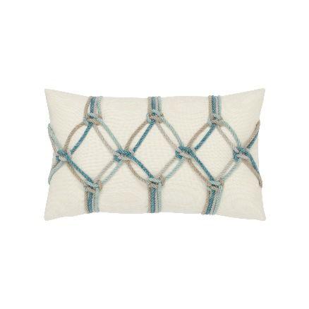 Elaine Smith Outdoor Aqua Rope Lumbar Pillow