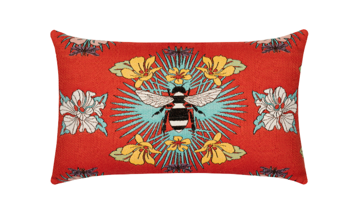 Elaine Smith Outdoor Tropical Bee Red Lumbar Pillow