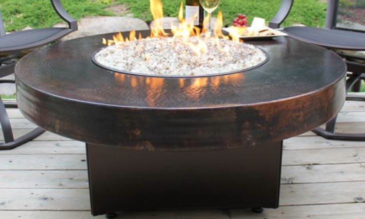 Oriflamme Gas Fire Pit Table Hammered Copper Somber