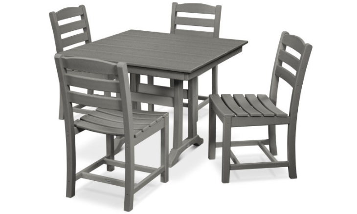 La Casa Cafe 5-Piece Farmhouse Trestle Side Chair Dining Set