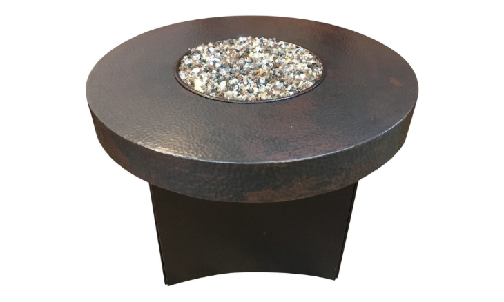 Oriflamme Mini 32'' Hammered Copper Fire Pit Table