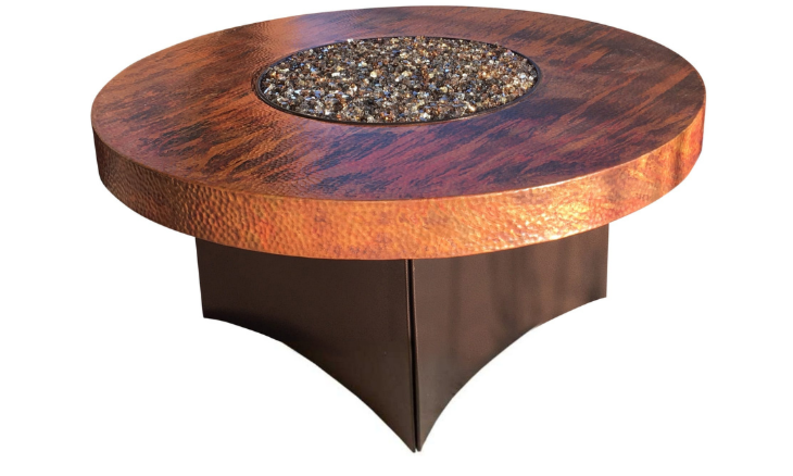 Copper Oriflamme Fire Table Hammered Copper Fire Table