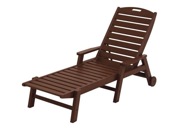 Nautical Wheeled Chaise with Arms - Mahogany