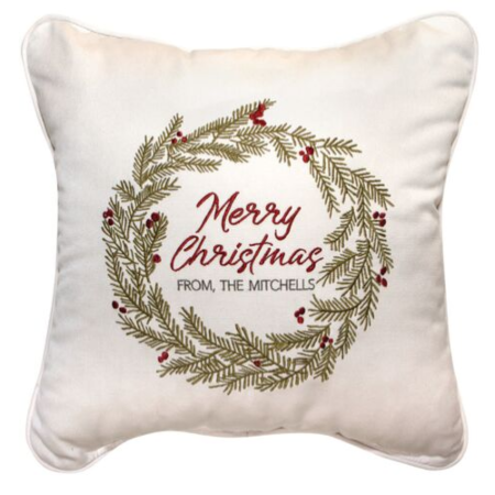 Merry Christmas Wreath Embroidered Indoor/Outdoor Pillow | Customizable