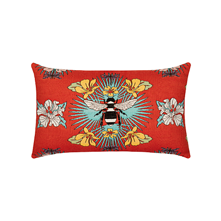 Elaine Smith Outdoor Tropical Bee Red Lumbar Pillow