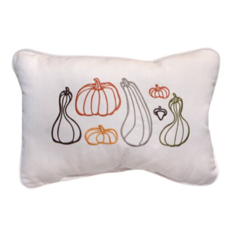 Fall Gourds Embroidered Outdoor Pillow