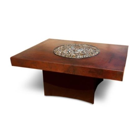 Oriflamme Rectangle Gas Fire Pit Table | Hammered Copper