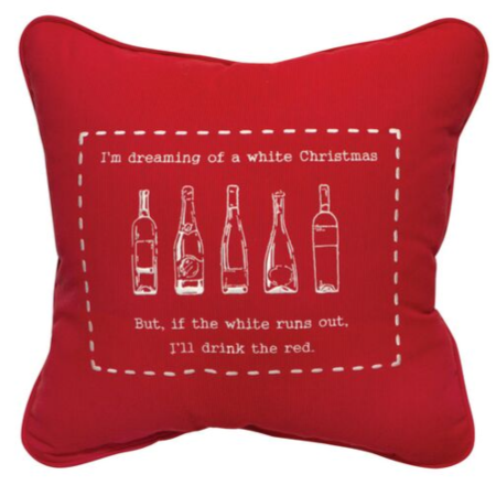 White Christmas Embroidered Indoor/Outdoor Pillow