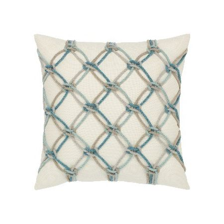 Elaine Smith Outdoor Aqua Rope Pillow