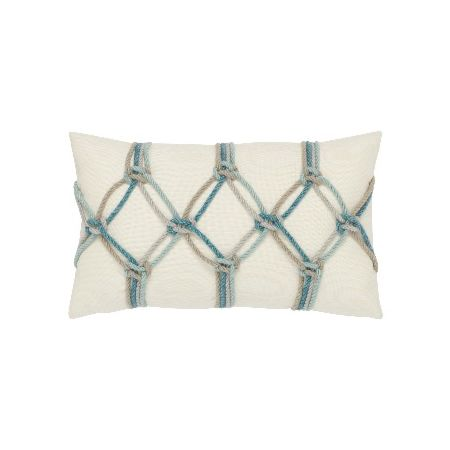 Elaine Smith Outdoor Aqua Rope Lumbar Pillow