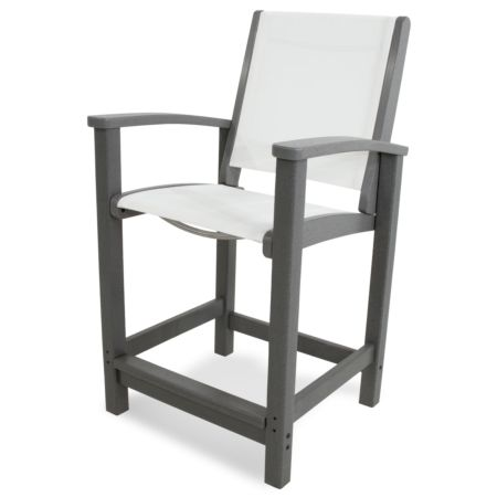Coastal Counter Chair recycled plastic Polywood outdoor furniture slate