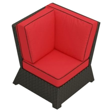 Cabo Wicker Corner Chair- Flagship Ruby Fabric