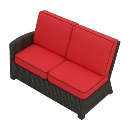 Cabo Wicker Sectional Left Arm Loveseat (Flagship Ruby w/ Brown Welt)
