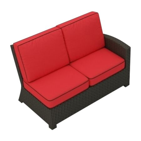 Cabo Wicker Sectional Right Arm Loveseat (Flagship Ruby w/ Brown Welt)