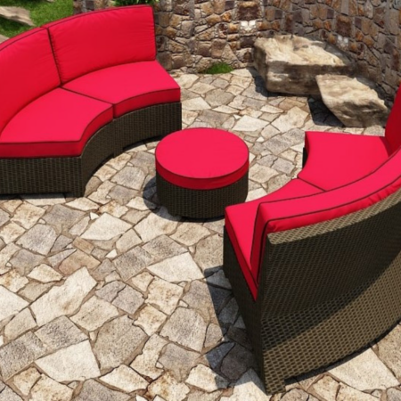 Cabo Wicker Curved Sectional Set- 3 Piece