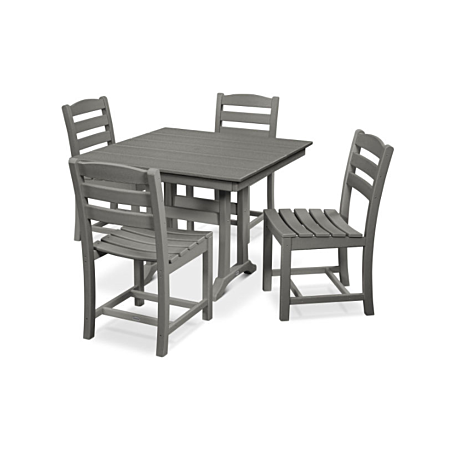 La Casa Cafe 5-Piece Farmhouse Trestle Side Chair Dining Set