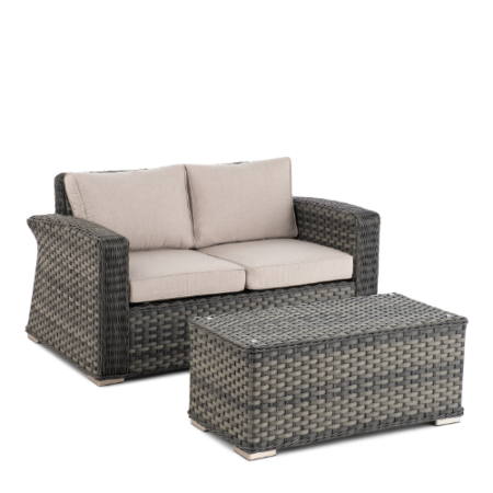 Luna Wicker Aluminum Love Seat and Coffee Table Set
