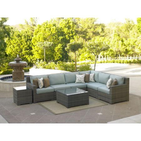 Malibu 6 piece l sectional shown in willow weave with Canvas Spa fabric