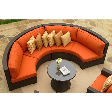 Malibu Curved Sectional with java wicker