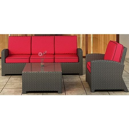 Cabo Wicker Sofa Set- 3 Piece- Flagship Ruby w/ Bay Brown Welt
