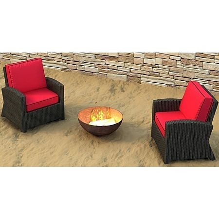Cabo Wicker Club Chair Set- 2 Piece - Flagship Ruby with Canvas Bay Brown Welt