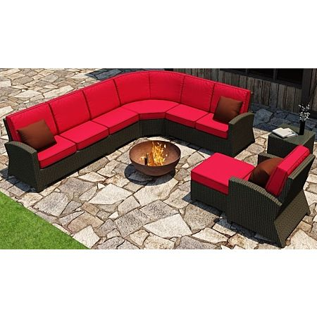 Cabo Wicker Sectional Sofa Set- 7 Piece- Flagship Ruby