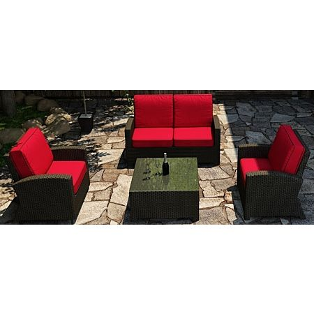 Cabo Wicker Loveseat Sofa Set- 4 Piece- Flagship Ruby w/ Bay Brown welt